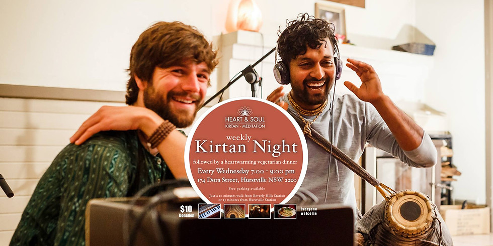 Kirtan on Wednesday by our friends at Heart & Soul
