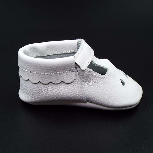 Leather T-Bar Moccasin - Cotton Wool