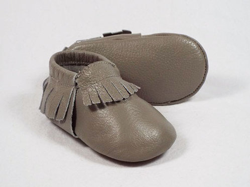 Leather Baby Moccasin - Slate
