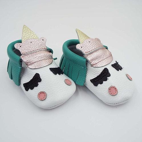 Leather Baby Moccasin - Unicorn Jade