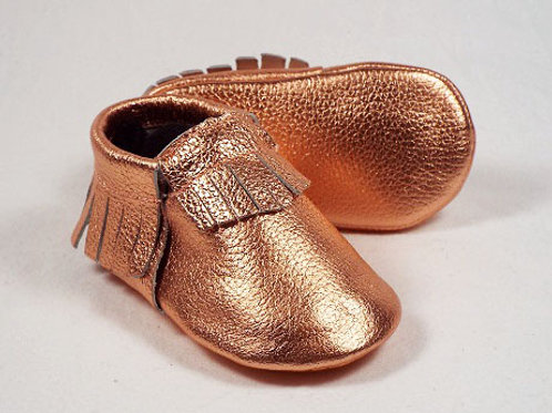 Leather Baby Moccasin - Rose Water