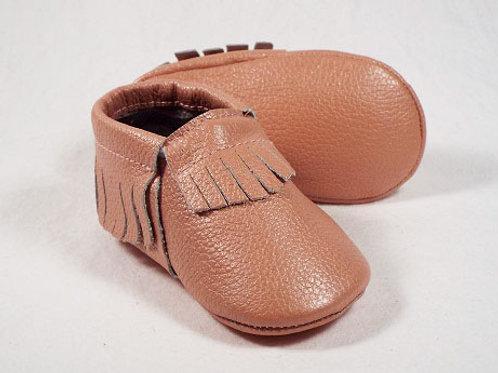 Leather Baby Moccasin - Flamingo
