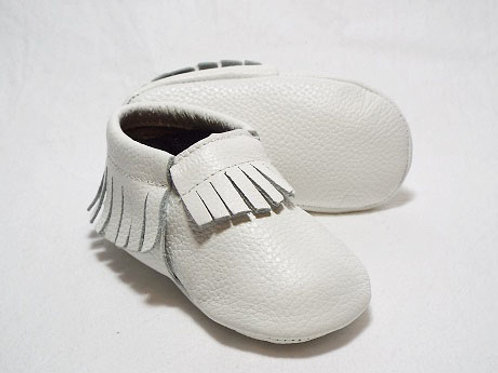 Leather Baby Moccasin - Cotton Wool