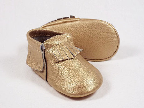 Leather Baby Moccasin - Made of Gold