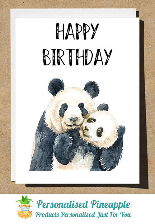 BIRTHDAY CARD PANDA AND BABY HAPPY BIRTHDAY - CAN BE PERSONALISED