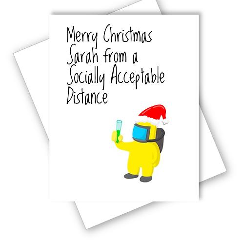 Funny Lockdown Hazmat Social Distance Christmas Card Friend Family Personalised