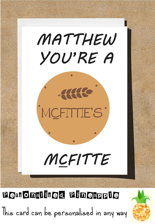 MCFITTIE BISCUIT VALENTINES DAY / LOVE CARD - PERSONALISED