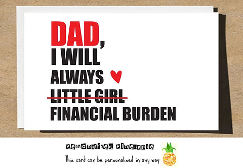 FATHERS DAY CARD - ALWAYS BE YOUR LITTLE GIRL FINANCIAL BURDEN