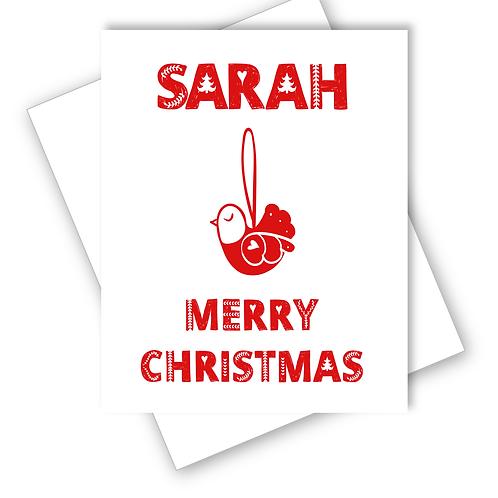 BIRD SCANDINAVIAN FOLK ART DESIGN MERRY CHRISTMAS CARD