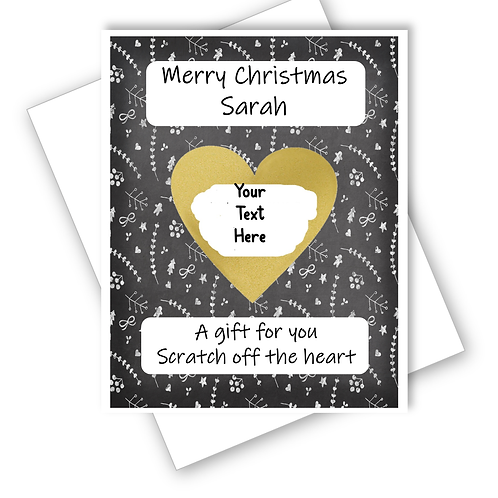 CHRISTMAS SUPRISE CARD SCRATCH OFF REVEAL GIFT - CAN BE PERSONALISED