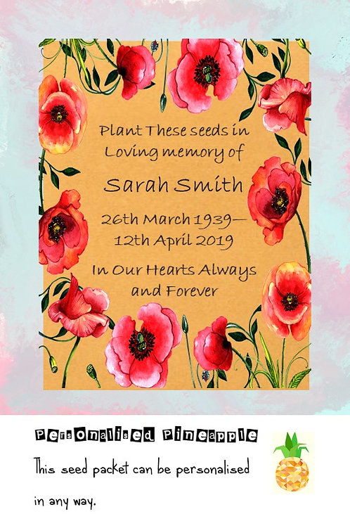 Funeral Poppy Flower Seed Packet Memorial Remembrance Favour Brown