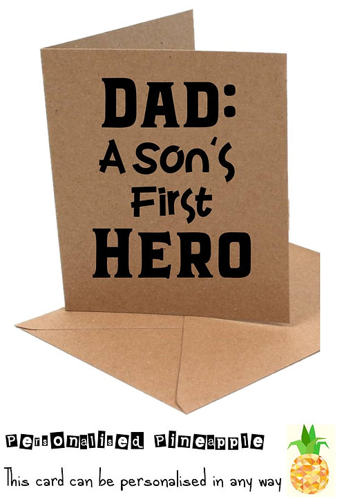FATHERS DAY CARD - DAD A SONS FIRST HERO