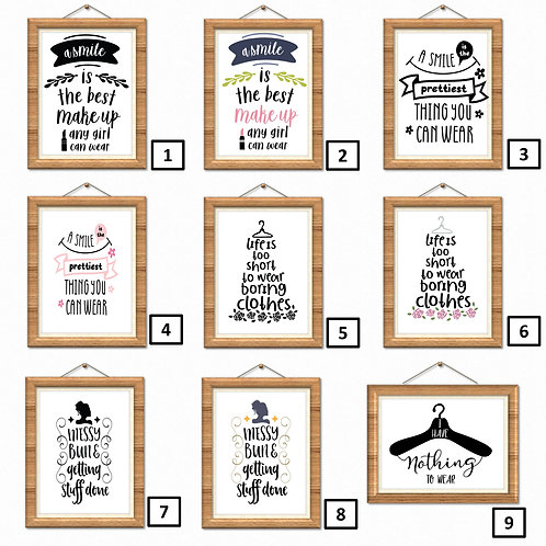 Bedroom Wall Art Print Poster Decor Quotes Girls Ladies Make Up Clothes Fashion