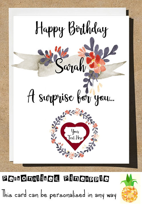 A SURPRISE FOR YOU FLOWERS HEART SCRATCH REVEAL SURPRISE BIRTHDAY