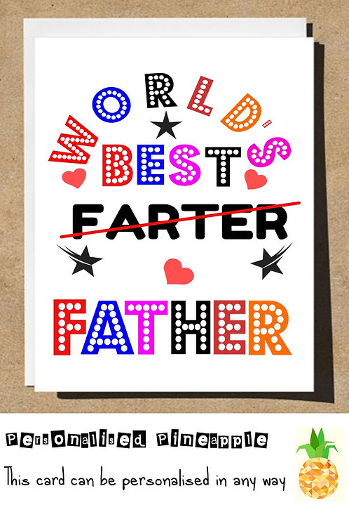 FUNNY FATHERS DAY CARD - WORLDS BEST FARTER