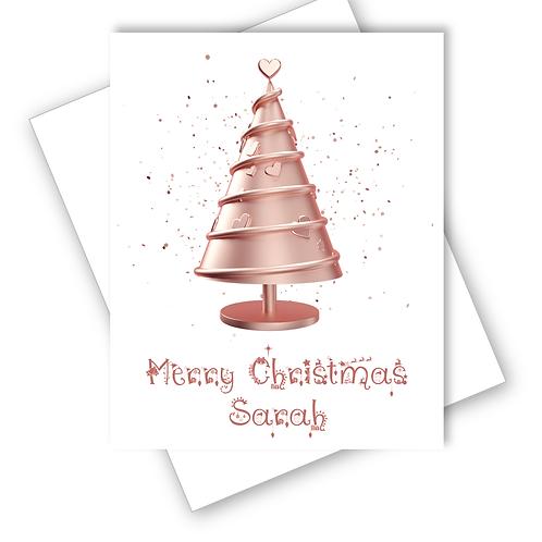 Christmas Card Rose Pink Sparkle Tree Stars Daughter Grandaughter Personalised