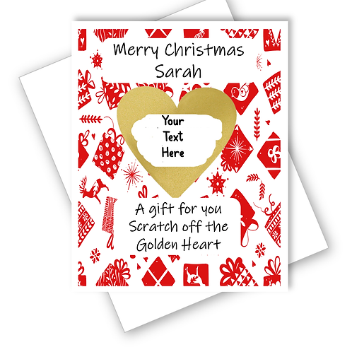 CHRISTMAS PRESENTS SUPRISE CARD SCRATCH OFF REVEAL GIFT - CAN BE PERSONALISED