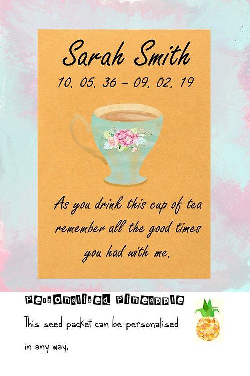 Funeral Tea Bag Cup of Tea Packet Memorial Remembrance Favour Brown