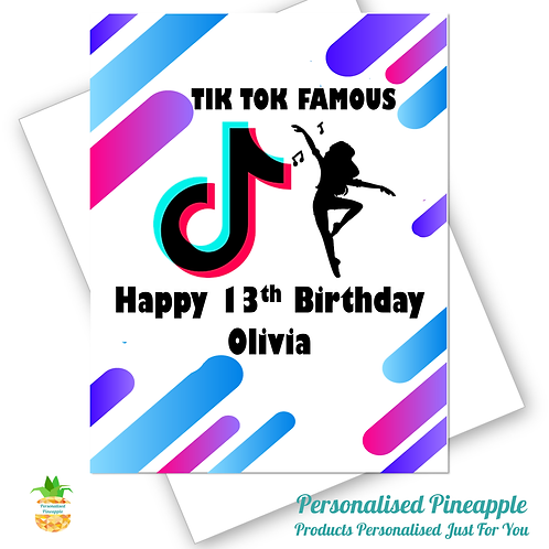 TIK TOK Famous Birthday Card Daughter Friend Dance Can Be Personalised Name Age
