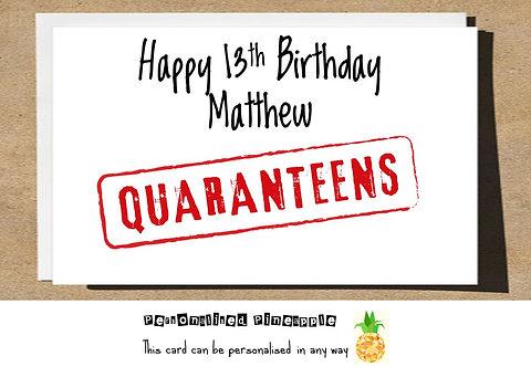 QUARANTEENS TEENAGE BIRTHDAY CARD LOCKDOWN