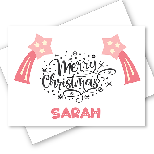 Merry Christmas Card Pink Shooting Star - Daughter Niece Friend