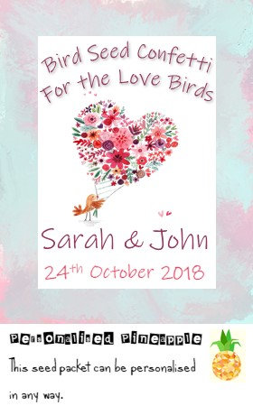 Wedding Love Birds Bird Seed Confetti Packet Favour White