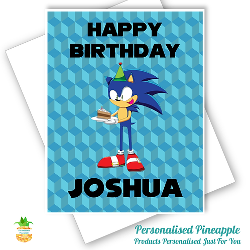 Sonic Hedgehog Birthday Card Son Daughter Grandson Can Be Personalised Name Age