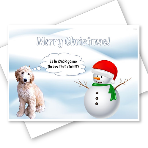 CHRISTMAS CARD DOG SNOWNMAN THROW STICK PERSONALISED OWN PHOTO