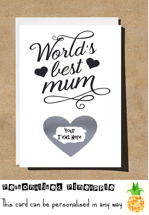 MOTHERS DAY / BIRTHDAY CARD SCRATCH OFF - WORLD'S BEST MUM - PERSONALISED