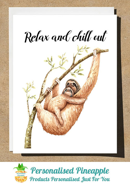 BIRTHDAY CARD SLOTH AND BABY HAPPY BIRTHDAY - CAN BE PERSONALISED