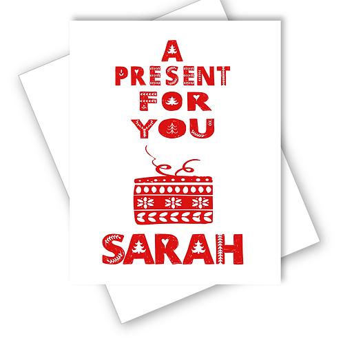 PRESENT FOR YOU SCANDINAVIAN FOLK ART DESIGN MERRY CHRISTMAS CARD