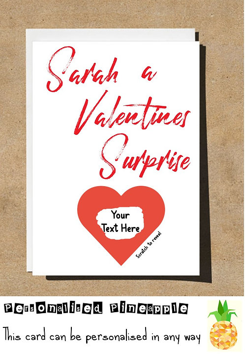 A VALENTINES SURPRISE SCRATCH OFF REVEAL CARD - LOVE - PERSONALISED