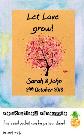 Wedding Let Love Grow Flower Seed Packet Favour Brown