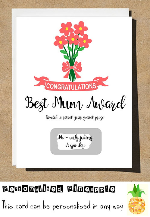 MOTHERS DAY / BIRTHDAY CARD SCRATCH OFF SURPRISE - BEST MUM AWARD -PERSONALISED