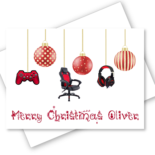 Christmas Card Gaming XBOX Playstation Baubles Son Grandson Nephew PERSONALISED
