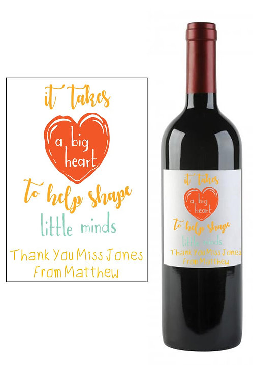 Personalised Teacher Teaching Wine Bottle Label Gift