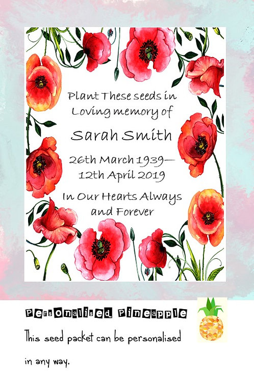 Funeral Poppy Flower Seed Packet Memorial Remembrance Favour White