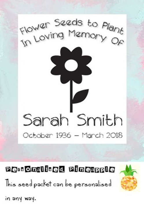 Funeral Flower Seed Packet Memorial Remembrance Favour White