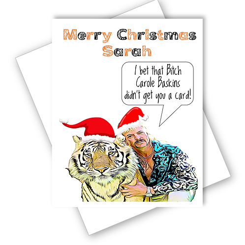 Tiger King Joe Exotic Christmas Card Funny Humour Banter Personalised