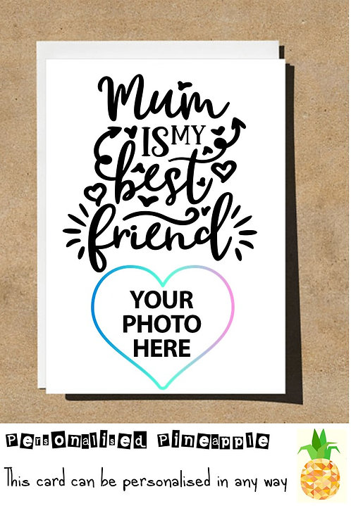 MOTHERS DAY / BIRTHDAY CARD - MUM IS MY BEST FRIEND - PERSONALISED OWN PHOTO