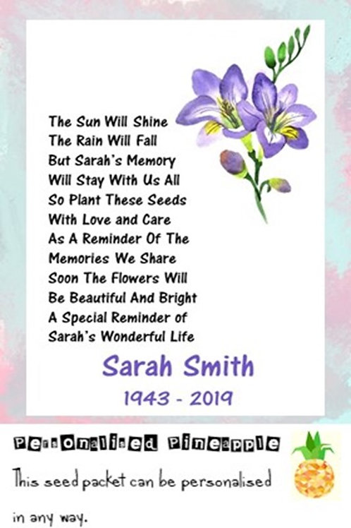 Funeral Purple Flower Seed Packet Memorial Remembrance Favour White