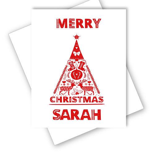 TREE SCANDINAVIAN FOLK ART DESIGN MERRY CHRISTMAS CARD