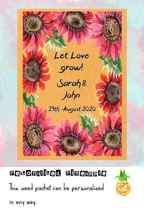 Wedding Pink Sunflower Flower Seed Packet Favour Brown