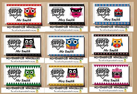 OWL SUPERHERO TEACHER THANK YOU CARD - MANY DESIGNS