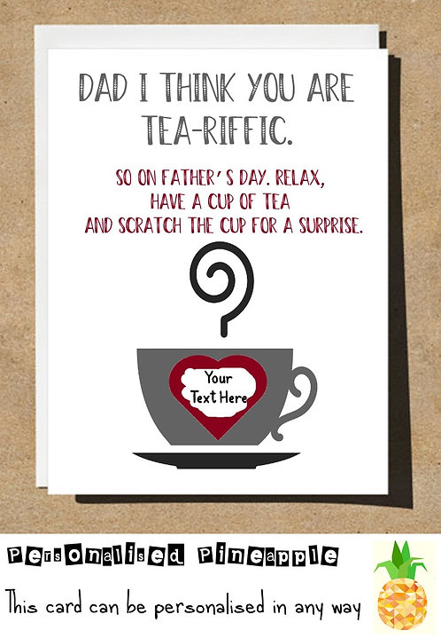 FATHERS DAY CARD SCRATCH OFF SURPRISE - TEA-RIFFIC