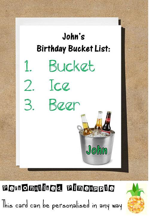 BUCKET LIST ICE BEER BIRTHDAY CARD