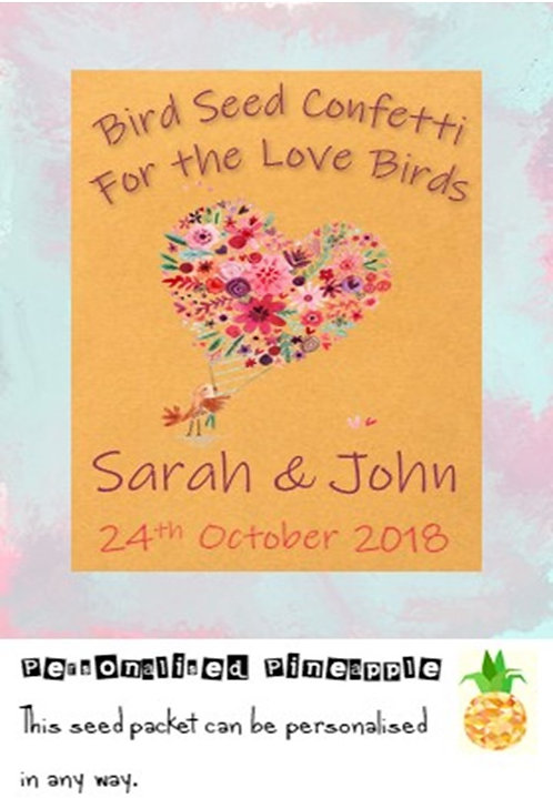 Wedding Love Birds Bird Seed Confetti Packet Favour Brown