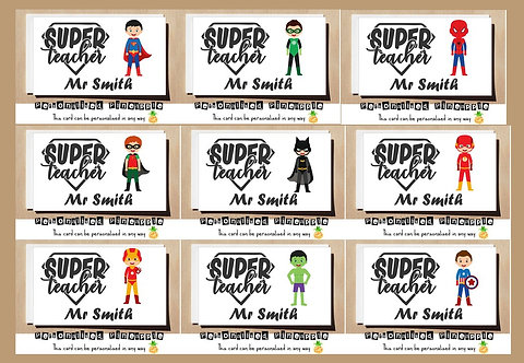 SUPERHERO MALE TEACHER THANK YOU CARD - MANY DESIGNS