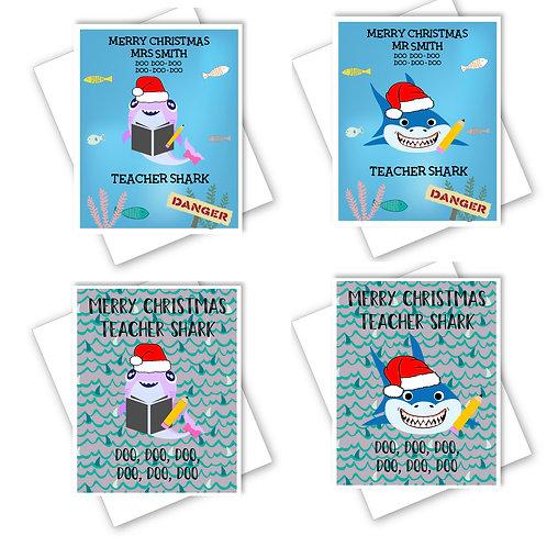 TEACHER SHARK CHRISTMAS CARD - MR OR MRS 2 DESIGNS - BABY SHARK