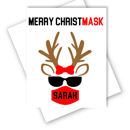 Merry Christmask Mask Reindeer Lockdown Christmas Card Funny